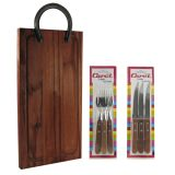 Argentine barbecue kit (wooden board with horseshoe grip, 3 knifes, 3 forks)