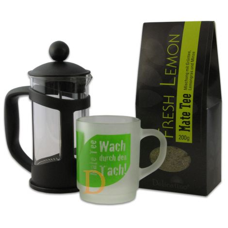 Kombi-Angebot Matepress 0,35L + Mate Tee Delicatino Fresh Lemon 200g + Trinkglas Delicatino
